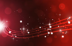 Music Notes on Red Background Royalty Free Stock Photos