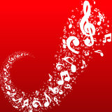 Music notes on red background Royalty Free Stock Photography