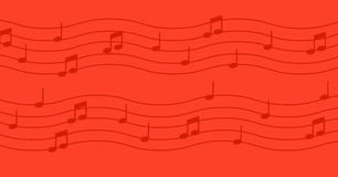 Music notes on red background. Stock Image