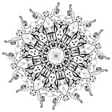 Music Notes Round Floral Ornament Royalty Free Stock Image