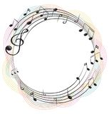 Music notes on round frame. Illustration stock illustration