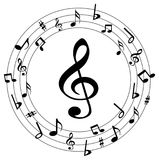Music notes round logo Royalty Free Stock Photo