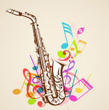 Music notes and saxophone Stock Photography