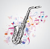Music notes and saxophone Stock Image