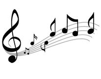Music Notes Scale and Treble Clef. A simple clip art illustration featuring music notes and treble cleff - black and gray on white Royalty Free Stock Photo