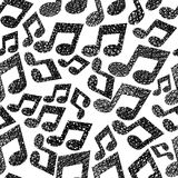 Music notes seamless pattern, musical theme repeating vector bac Stock Image