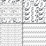 Music notes seamless pattern set Stock Photography