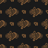 Music notes seamless pattern, treble clef, thin line art Royalty Free Stock Images