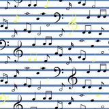 Music notes seamless vector stripe pattern. Stock Images