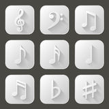 Music notes. Set of icons with long shadow Royalty Free Stock Photography