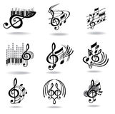 Music notes. Set of music design elements or icons. Image for design Stock Photos