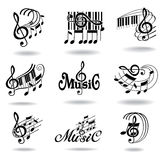 Music notes. Set of music design elements or icons