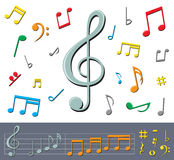 Music notes with shadows Royalty Free Stock Photography