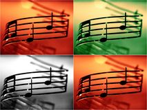 Music notes shallow dof, color effect added. Collage royalty free stock photography