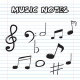 Music notes on sheet paper Stock Photography