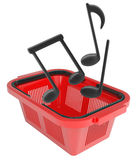 Music notes in shopping basket Royalty Free Stock Images