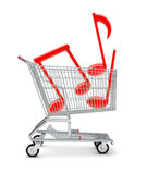 Music notes in shopping cart Royalty Free Stock Photos