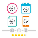 Music notes sign icon. Musical symbol. Royalty Free Stock Photos