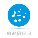 Music notes sign icon. Musical symbol. Stock Photos