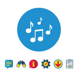 Music notes sign icon. Musical symbol. Royalty Free Stock Image
