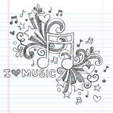 Music Notes Sketchy Doodle Vector Illustration. Music Note I Love Music Back to School Sketchy Notebook Doodles- Hand-Drawn Illustration Design Elements on Lined Stock Photography