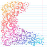 Music Notes Sketchy School Doodles Vector. Music Notes G Clef Vector Back to School Sketchy Notebook Doodles with Music Notes and Swirls Hand-Drawn Vector