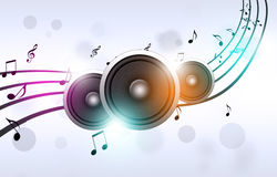 Music Notes and Sound Speakers Royalty Free Stock Photo