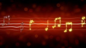 Music notes sparkling like stars on red background, passionate love song romance. Stock footage royalty free illustration