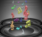 Music notes and speakers Stock Image