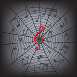 Music notes in the spider web Royalty Free Stock Images