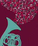 Music notes splash Tuba illustration Royalty Free Stock Images