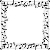 Music notes square box border vector illustration