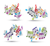 Music notes staff abstract compositions. Music notes staff abstract compositions, vector set Stock Photography