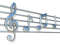 Music notes on staff lines 3D Stock Images