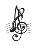 Music notes on stave Royalty Free Stock Image