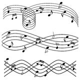 Music notes on stave. Various music notes on stave Stock Photography