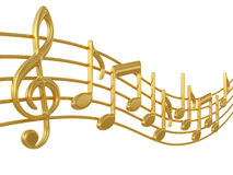 Music notes on staves Royalty Free Stock Images