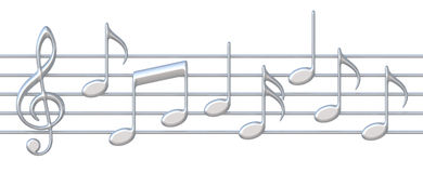 Music notes on staves Royalty Free Stock Photos