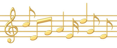 Music notes on staves Royalty Free Stock Image