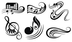Music notes on staves Royalty Free Stock Photography