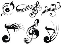 Music notes on staves royalty free illustration