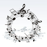 Music notes on staves. Vector music background. Royalty Free Stock Images