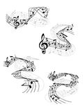 Music notes on swirling staves Royalty Free Stock Image