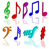 Music notes symbols 3d color vector illustration