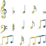 Music Notes symbols set Royalty Free Stock Image
