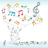 Music notes tornado Stock Photos