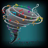 Music notes tornado on the dark background. The music notes tornado on the dark background Royalty Free Stock Photo