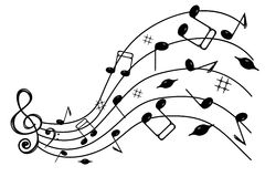 Music notes . Treble clef and notes of black on the wave , on a white background Royalty Free Stock Photography