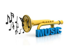 Music notes with  trumpet Stock Photos