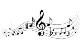 Music notes. Vector illustration of black and white music notes on isolated white background royalty free illustration